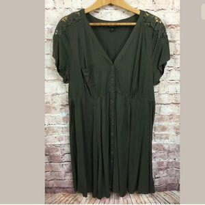 TORRID Size 2 2X short sleeve army green dress